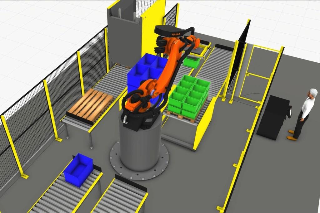 Linia paletyzacji pudełek Robot KUKA KR150 R2700