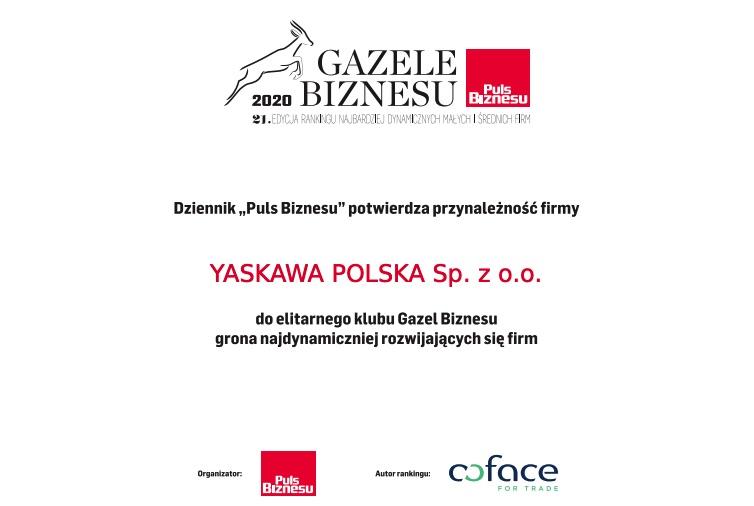 YASKAWA Polska Gazelą Biznesu 2020
